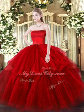 007d4d695db Ideal Wine Red Tulle Zipper 15 Quinceanera Dress Sleeveless Brush Train  Ruffled Layers