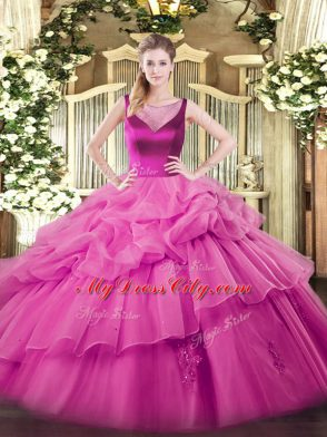 On Sale Organza Sleeveless Floor Length Sweet 16 Dress and Beading and Appliques
