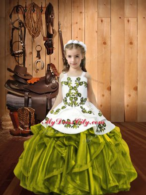 Olive Green Ball Gowns Straps Sleeveless Organza Floor Length Lace Up Embroidery and Ruffles Little Girl Pageant Dress