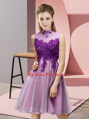 Lilac Empire Appliques Vestidos de Damas Lace Up Tulle Sleeveless Knee Length