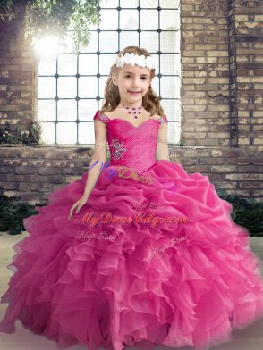 2a8d4ba5629 Hot Pink Straps Lace Up Beading and Ruffles and Pick Ups Kids Pageant Dress  Sleeveless  US  144.24