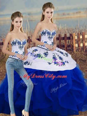 Floor Length Royal Blue Quinceanera Gowns Sweetheart Sleeveless Lace Up