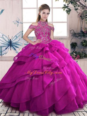 Inexpensive Fuchsia Ball Gowns Beading and Ruffled Layers 15 Quinceanera Dress Lace Up Organza Sleeveless Floor Length