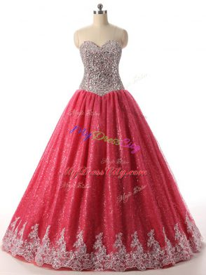 07f857643a0 Exceptional Beading and Appliques Ball Gown Prom Dress Coral Red Lace Up  Sleeveless Floor Length  US  237.18