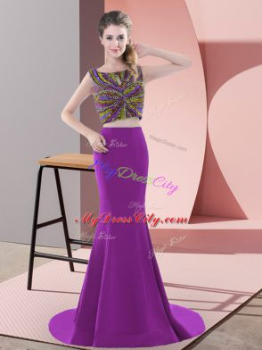 Purple Two Pieces Scoop Sleeveless Satin Sweep Train Backless Beading Prom Party Dress