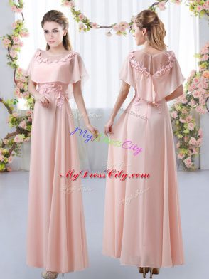 bc8e0d6f053 On Sale Pink Empire Appliques Quinceanera Court Dresses Zipper Chiffon  Short Sleeves Floor Length  US  115.15