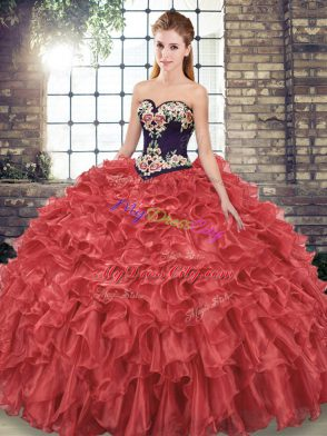 d162110de32 Beauteous Sweetheart Sleeveless Organza Ball Gown Prom Dress Embroidery and  Ruffles Sweep Train Lace Up  US  246.68. Exceptional Beading and Appliques  ...