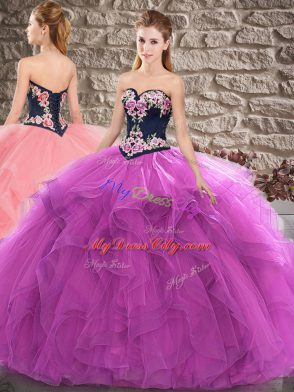 bd0ba849959 Excellent Tulle Sweetheart Sleeveless Lace Up Beading and Embroidery  Vestidos de Quinceanera in Purple  US  225.04