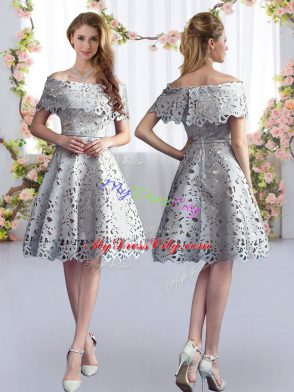 f937dc05328 Vintage Grey Short Sleeves Lace Knee Length Quinceanera Court of Honor  Dress  US  84.69