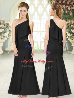 On Sale Black Prom Dresses Prom and Party and Military Ball with Ruching One Shoulder Sleeveless Side Zipper