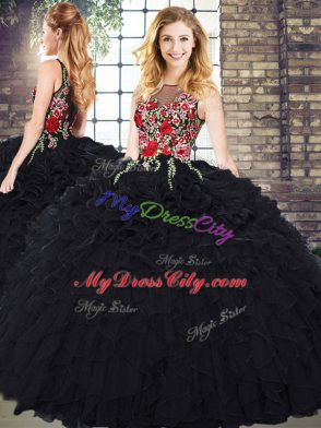 48382b76720 Top Selling Organza Sleeveless Floor Length Vestidos de Quinceanera and  Embroidery and Ruffles  US  248.46