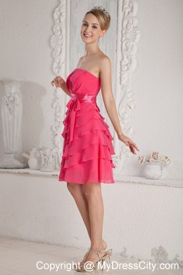 Elegant Short Ruched and Layered Hot Pink Bridesmaid Dress