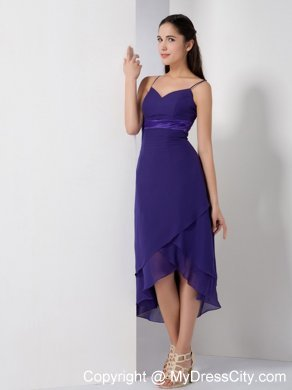 Pretty Purple High-low Bridesmaid Dress with Spaghetti Straps ...
