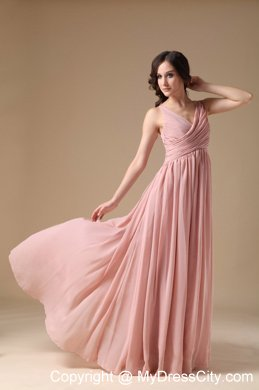 Elegant Peach Pink V Neck Chiffon Ruched Maid Of Honor Dress