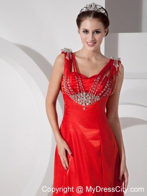 Unique Beaded Column Red Prom Evening Dress