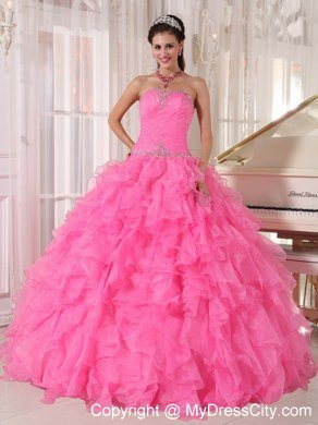 Decorate Waist Hot Pink Ruffles Sleeveless Dress for Sweet 16