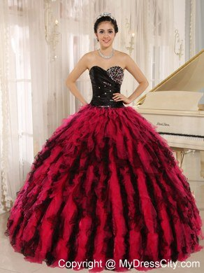 Ruffles Sweetheart Black and Hot Pink Quinceanera Dress with Tulle