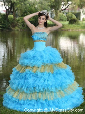 Puffy Organza Aqua Blue and Gold Ruffles Quinceanera Dress For 2013
