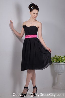 Empire Strapless Chiffon Short Bridesmaid Dresses with Pink Sashes
