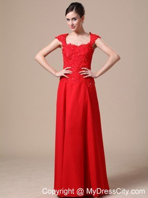 Lace Chiffon Square Red Column Cap Sleeves Prom Dress For 2013