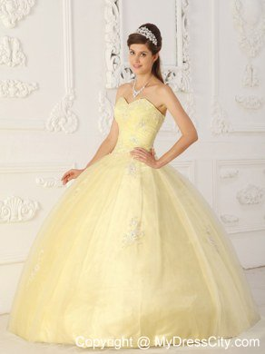 8d49a109c53 Tulle Appliques Sweetheart Light Yellow Quinceanera Dresses For Cheap