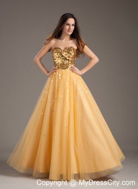 Hot Sale Sweetheart Sequins Gold Prom Dress for Girls