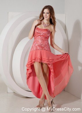 High low watermelon beading cocktail dress strapless for Cocktail 102