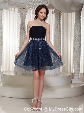 Sequin Beading Strapless Cool Back Navy Blue Mini-length Cocktail Dresses
