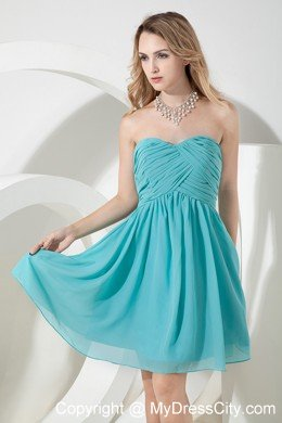daafc5369536 Ruched Chiffon Turquoise A-line Knee-length Bridesmaid Dama Dresses