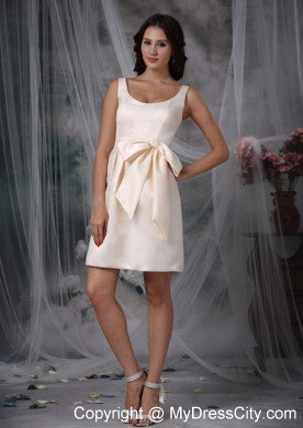 cf794cd1bf Scoop Neck Mini-length Off White 15 Dresses for Damas With Bowknot