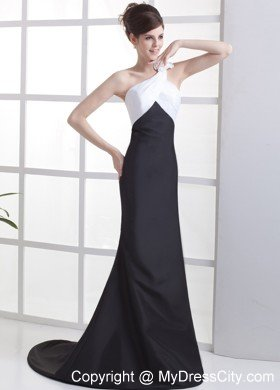 White and Black One Shoulder Flower Decorate Evening Gowns ...