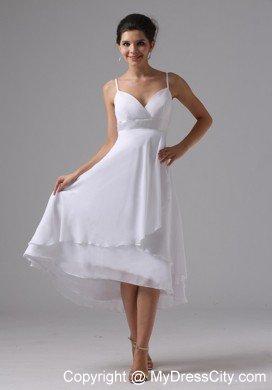 Simple Straps Tea-length Wedding Dress for Summer Wedding ...