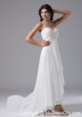 Custom Made Sweetheart High-low Beach Wedding Dress with Lace ...