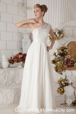 White Empire Chiffon Wedding Dress with Beaded One Shoulder ...