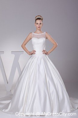 Lace A Line Sheer Neckline Wedding Dress With Kaboo Keyhole