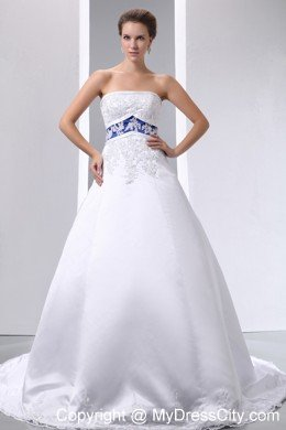 appliques strapless satin and lace wedding dress with blue color