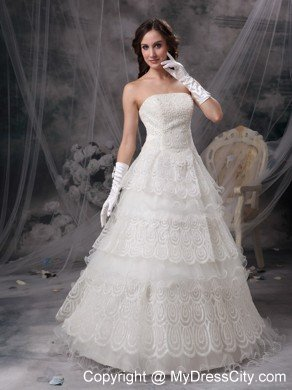 Pretty Strapless Beaded Lace Tiers Garden Wedding Bridal Gown With Gloves