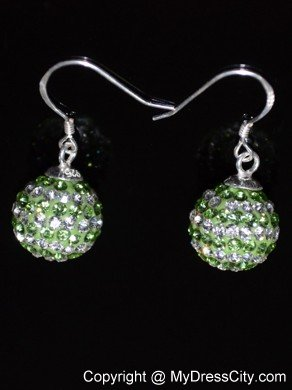 Cheap Round Rhinestone Spring Green And White Earrings
