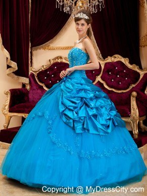 Fashion Taffeta and Tulle Lace Appliques Quinceanera Gowns in Teal