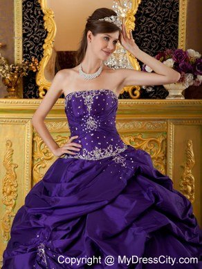 768ed7a608 Purple Beaded Strapless Pick Ups New Style Quinceanera Gowns