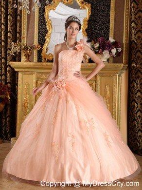 b123c9b18f Elegant Flowers One Shoulder Appliques Tulle Peach Quinceanera Dresses