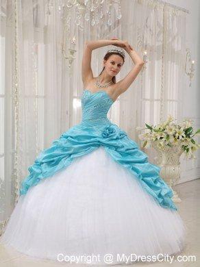 439797138f Beaded Ruching Pick Ups Aqua Blue and White Dresses For Sweet 15
