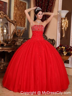 Beaded Strapless Ball Gowns Red Quinceanera Gowns For Cheap ...