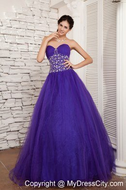 Beaded Sweetheart A-line Tulle Purple Sweet 16 Dresses For Cheap ...