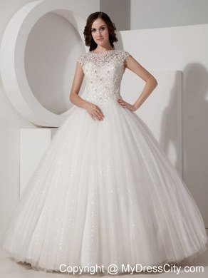 Pretty Lace Sheer Sweetheart Neck Sequined Ball Gown Wedding Gown ...