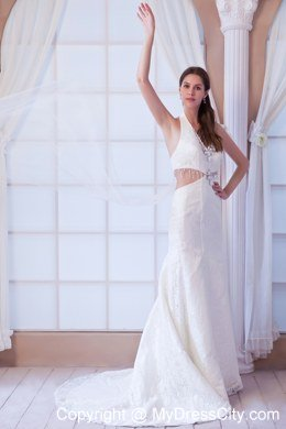 Halter Watteau Train 2013 Lace Wedding Dress With Side Cut Out