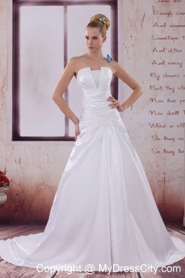2013 Ruches Strapless Wedding Dress for The 25th Anniversary