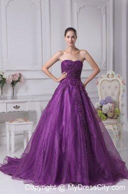 Eggplant Purple Appliques Sweetheart Wedding Dress In 2013
