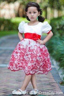 Printed white scoop short floral flower girl dress with red sash printed white scoop short floral flower girl dress with red sash mightylinksfo