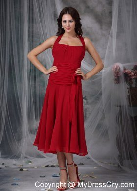 Wine red column halter tea length chiffon ruched for Red tea length wedding dress